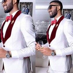 Белые мужские свадебные костюмы жениха 2020, смокинг, мужские костюмы, выпускной Блейзер, бордовая шаль с лацканами, костюм Homme Slim Fit Terno Masculino