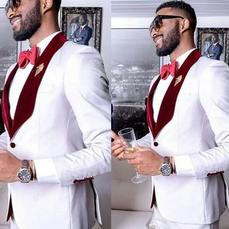 White Groom Wedding Tuxedo Men Suits Pants Man Blazer 2Piece Burgundy Velvet Shawl Lapel Costume Homme Slim Fit Terno Masculino