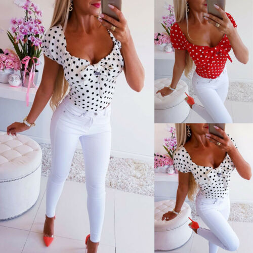 New Women Fashion Shirt Blusas Short Sleeve O Neck Polka Dot Women Casual T-Shirt Tops 2019 Summer Hot Sale
