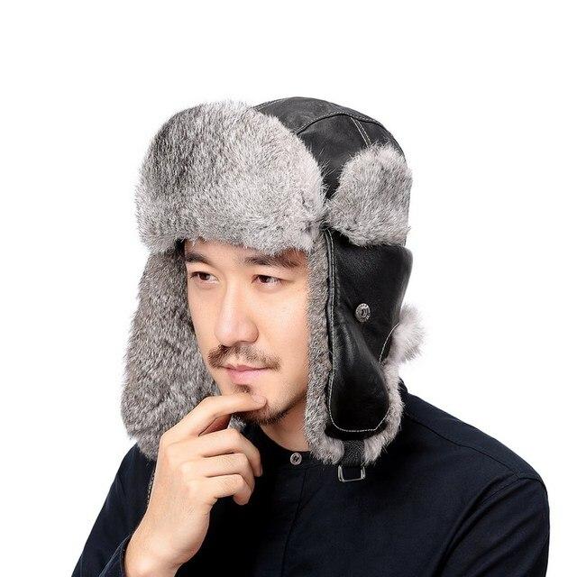 Valpeak Winter Bomber Hats Real Natural Rabbit Fur Hat Russian Ushanka Men    Women Warm Leather 144d1d55219