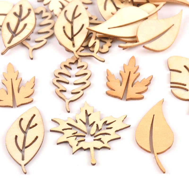 24Pcs/lot Mixed Leaf Pattern Natural Wooden For Scrapbooking Craft Home Decor Unfinished Wood Slices DIY Handmade 20x40mm M1652