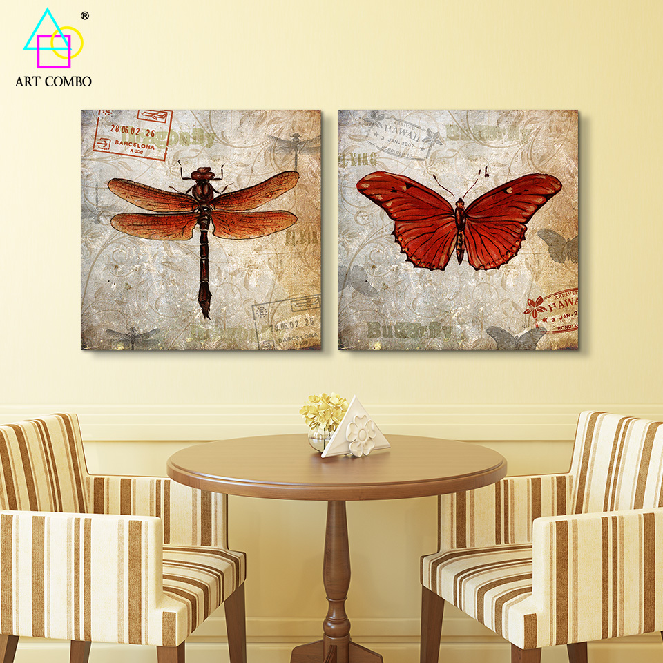 2 Pieces Artwork Spray Painting On Canvas Classic Dragonflies ...