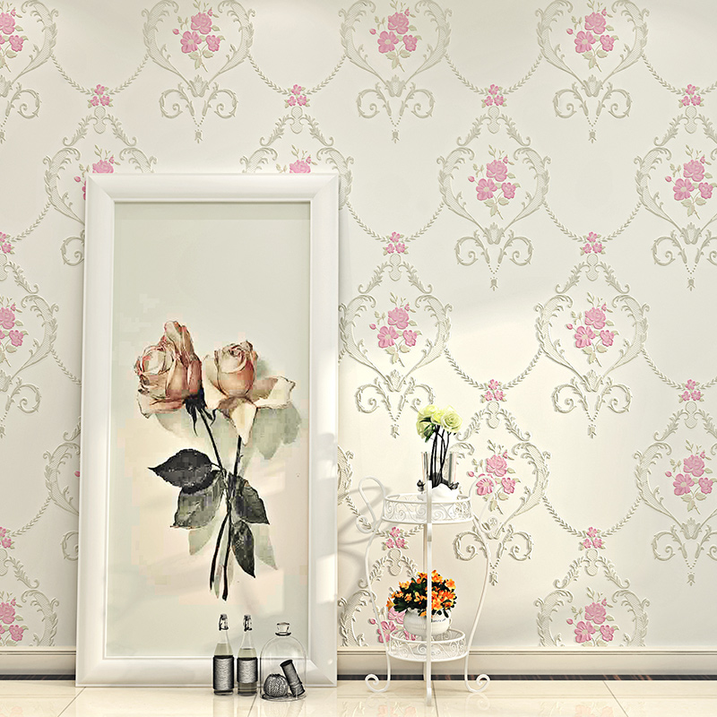 European Pastoral Style 3D Embossed Non-woven Flowers Wallpaper for Wall Girls Bedroom Living Room Decor 5.3 Sqm Wall Paper Roll