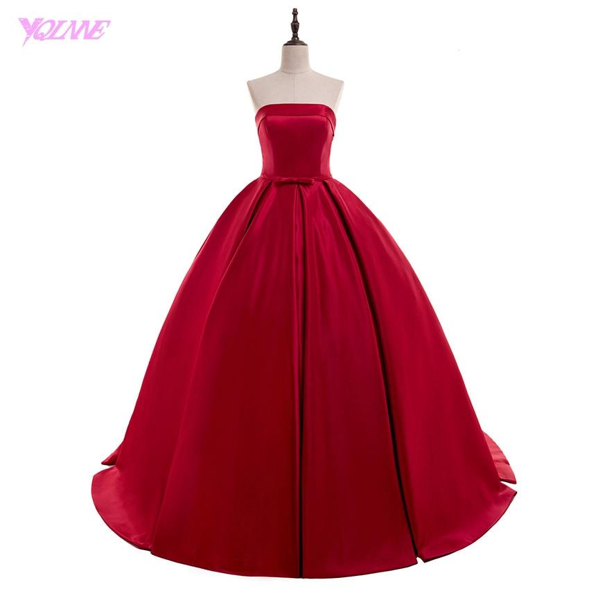 YQLNNE 2018 Rouge robe de Bal Robe de Soirée Longue Robe De Bal Bretelles En Satin Dentelle-up Robe De Festa Robe De soirée