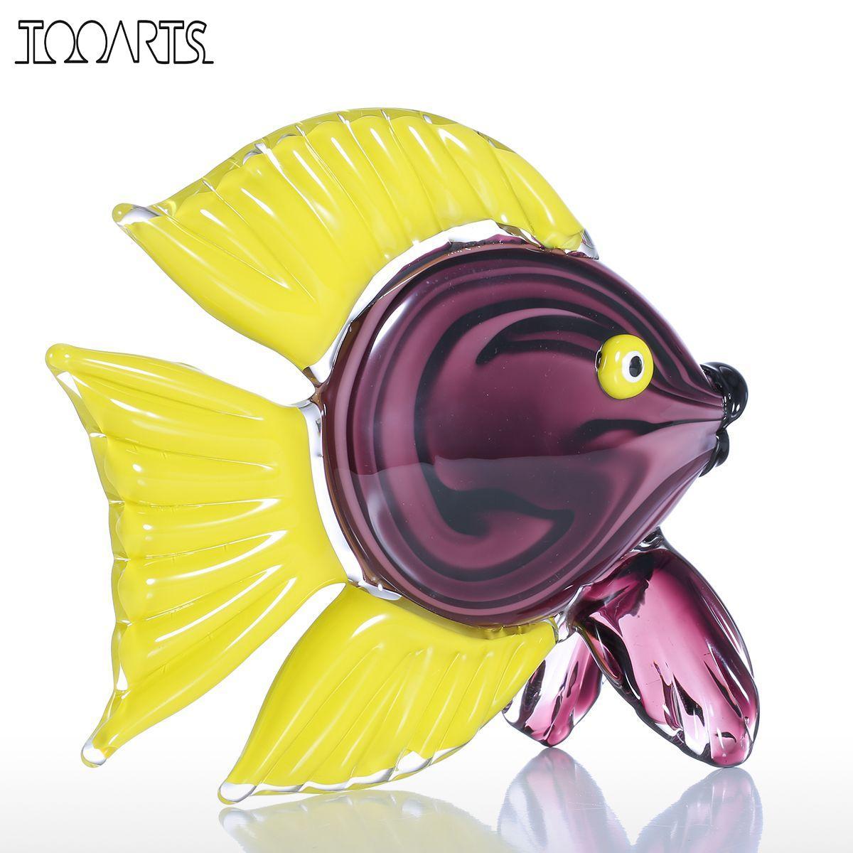 Tooarts Yellow Tropical Fish Glass Figurine Home Decor Animal ...