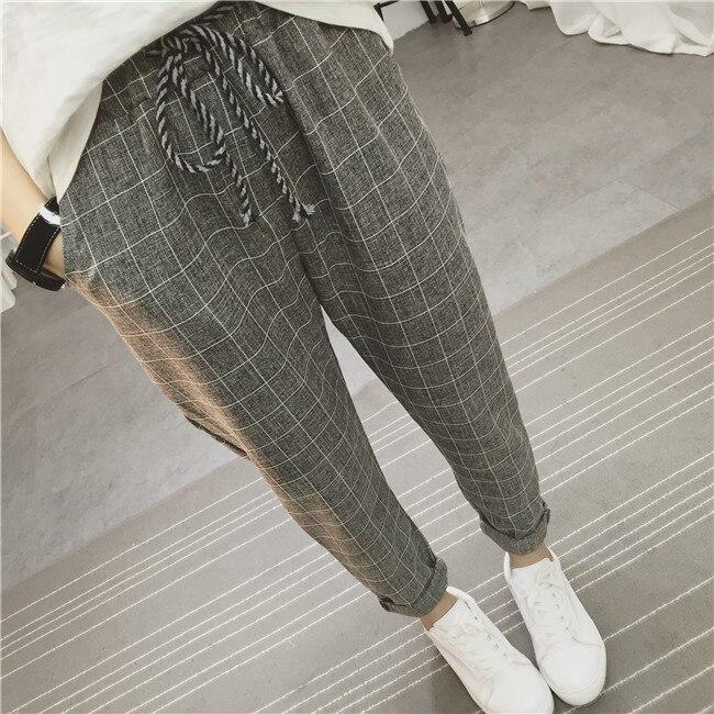 Updated Linen linen   pants   elastic waist wide leg casual Harem   pants   straight   pants   loose trousers Plaid   Capris   Grid