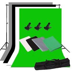 ZUOCHEN Photo Studio Backdrop Support Stand Kit 1.6 x 3m Black/White/Green/Gray Backdrop Screen + 2m x 2m Backdrop Support