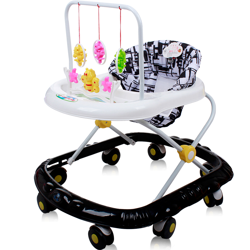 Black Baby 6-24Months Baby Multi-Function Anti-Rollover Folding Walker 6 Heights Adjustable Baby Walkers for Boys/&Girls Upgraded Version Baby Walker
