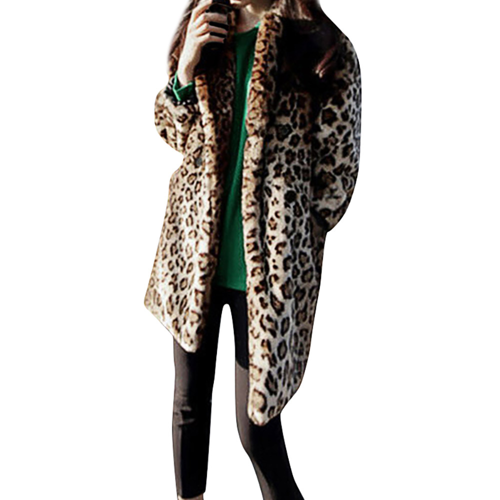 Fashion Women Warm Vintage Animal Leopard Print Coat Long Faux Fur Jacket Coat Outwear plus size XXXL S10 SE28 la palmyre zoo