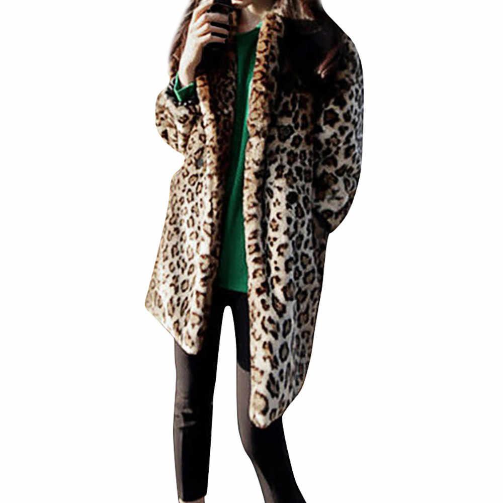 a8e29913cfd Fashion Women Warm Vintage Animal Leopard Print Coat Long Faux Fur Jacket  Coat Outwear plus size