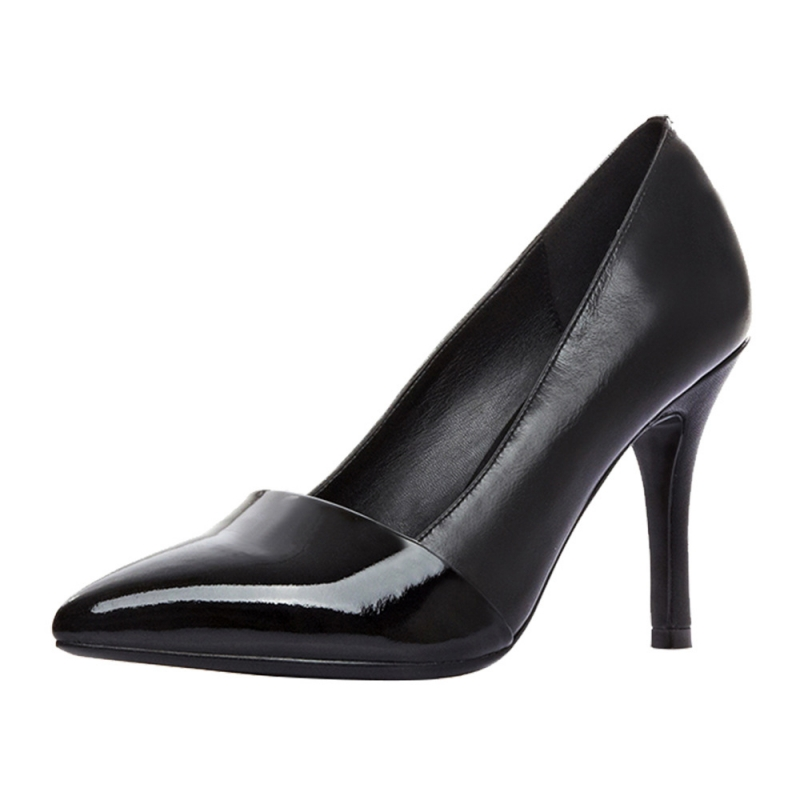 Women Pump Fashion Slip On Thin High Heel Cow Leather Pointed Toe Classic Solid Black Ladies Pumps Shoes Szie 34-46 SR-B0010 fashion women ladies pumps solid color spring summer pointed toe thin heel shoes new arrival high quality brand slip on pumps