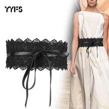 YYFS Fashion 2020 Wide Corset Lace Belt Female Self Tie Obi Cinch Waistband