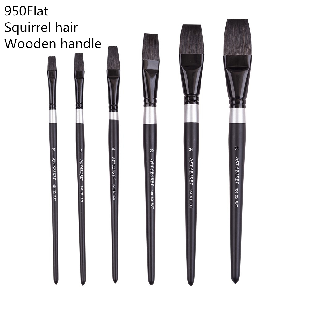 950SQFlat High Quality Squirrel Hair Wooden Handle Paint Brushes Artistic Art Painting Brush Pen For Watercolor Drawing
