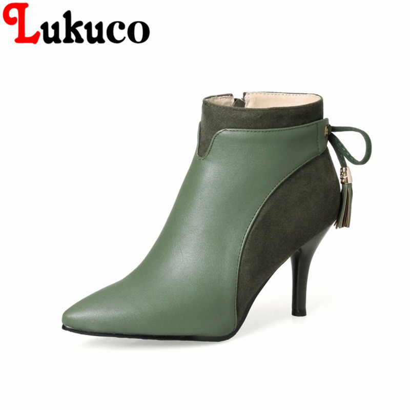2018 New fashion style Pointed Toe lady shoes size 34-46 Thin Heels Ankle Boots high quality low price super bargain women boots super bargain new model new steampunk army man