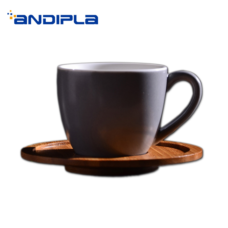 100ML Brief Solid Color Ceramic Porcelain Espresso Coffee Cup with Wooden Saucer Kit Mini Drinkware Office Black Tea Mug Teacup