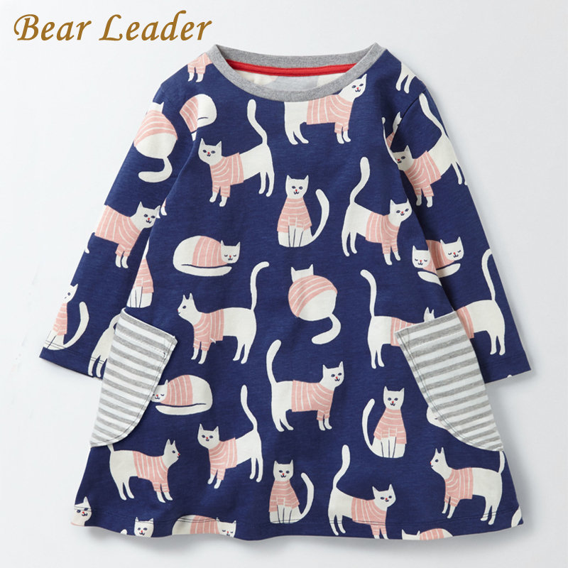 Bear Leader Girls Dress 2017 Brand Autumn Girls Clothes European and American Style Cute Cartoon Printing Design for Kids Dress