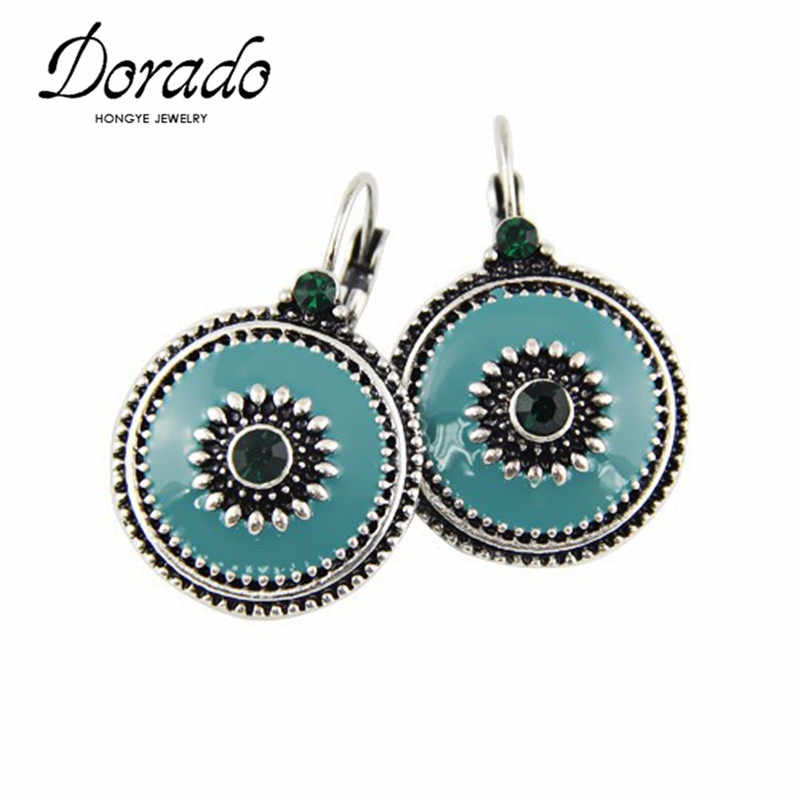 Vintage Zircon Enamel Drop Earrings For Women Antique Silver Bronze Ethnic Statement Round Female Hanging Dangle Earring Brincos