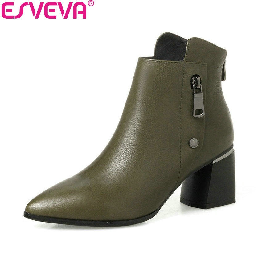 ESVEVA 2019 Women Boots Concise Cow Leather PU Zipper Boots Square High Heels Pointed Toe Ankle Boots Ladies Boots Size 34-42 esveva 2018 synthetic pu women boots square high heels ankle boots round toe fashion short boots zippers ladies shoes size 34 42