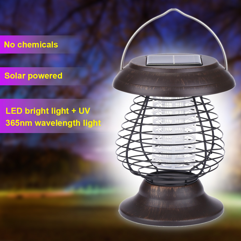 0.3W Solar Powered UV Bug Zapper Repellant Pest Insect Mosquito Killer U0026  LED Garden