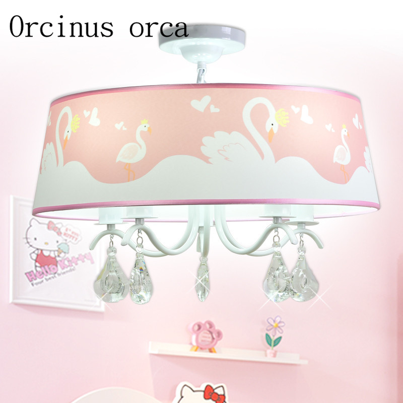 New Korean PINK SWAN crystal chandelier girl bedroom Princess Room ceiling chandelier romantic Chandelier free shippingNew Korean PINK SWAN crystal chandelier girl bedroom Princess Room ceiling chandelier romantic Chandelier free shipping