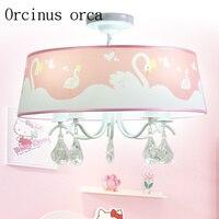 New Korean PINK SWAN crystal chandelier girl bedroom Princess Room ceiling chandelier romantic Chandelier free shipping