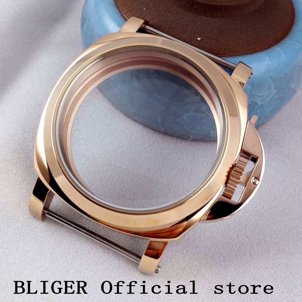44mm Golden rose Bliger hot sale good quality stainless steel watch case fit ETA  6497 6498 ST36 Molnija movement CA28