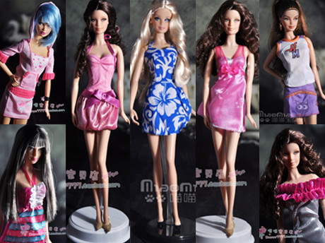 Free transport,unique clothes for Barbie doll,doll get together gown garments,6 types trend gown 6 pcs/lot
