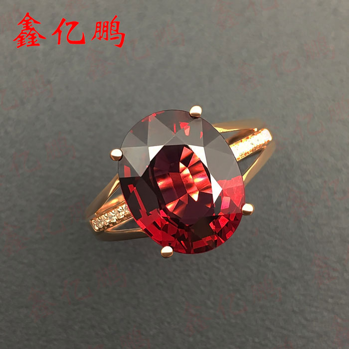 18 k gold inlaid natural garnet ring women to quit Fire color bright 6 carat ...