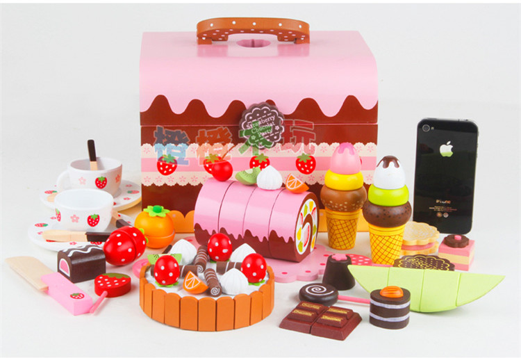 Free Shipping!Baby Toys Birthday Cake Wooden Toys Princess Chocolate Cake Child Pretend Play Christmas Gift classic world pink princess mirror wooden toy female baby child pretend play vanity dressing table toys furniture for girl