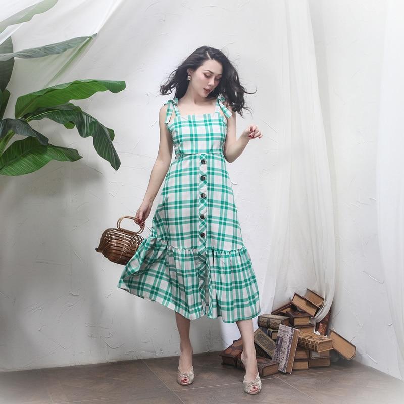 2018 été français Vintage vert robe à carreaux Slim taille haute boutons réglable sangle longue robe fermeture à glissière patte - 4