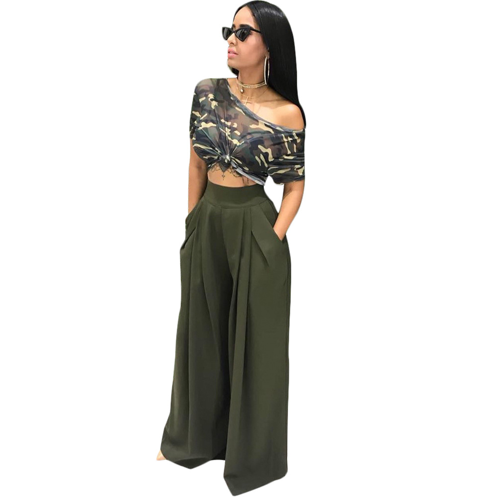 f14ee818cb8de YSMARKET Camouflage Short Tops Sexy T Shirt Tops+Loose Palazzo Pants Suits  Two Piece Set