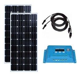 Panel słoneczny 12v 150w 2 szt. Panele słoneczne 24v 300w regulator ładowania słonecznego 12 v/24 v 10A domowy system zasilania energią słoneczną karawana samochód kempingowy