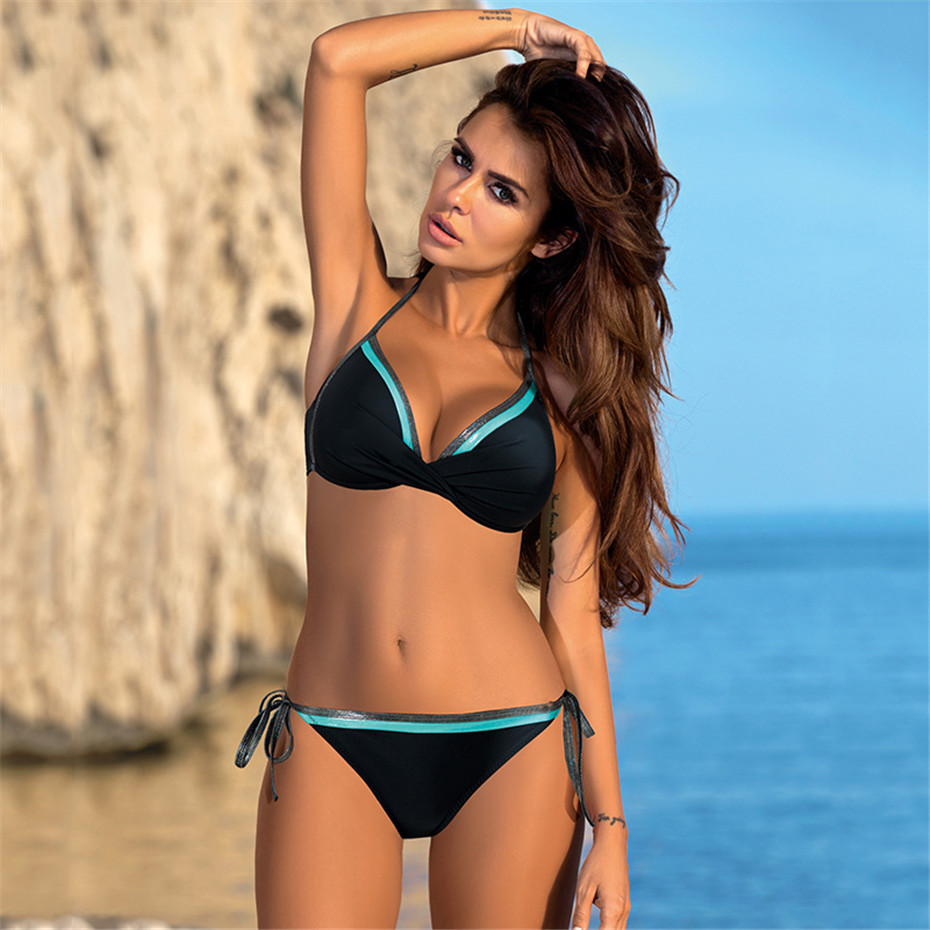 Push Up Bikini 2019 Bathing Suit Brazilian Swimsuit Sexy Bikini Solid Swimwear Girl Beachwear Women Swim Wear Female Biquini XXL