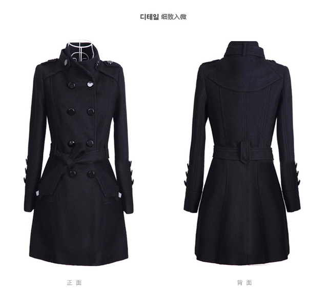 2017 Women Winter Coat Woolen Jacket with Belt Winter Slim Double Breasted Overcoat Winter Coats Long Outerwear for Women