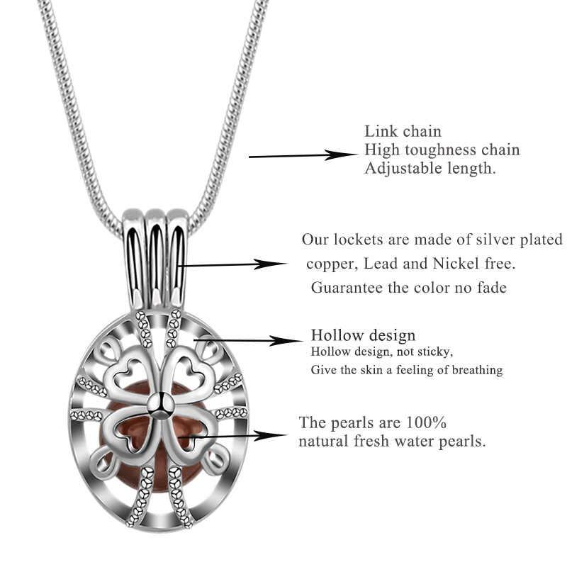 Eudora pérola gaiola prata cor medalhão perfume aromaterapia difusor do óleo essencial colar 8mm medalhão pingente para jóias diy