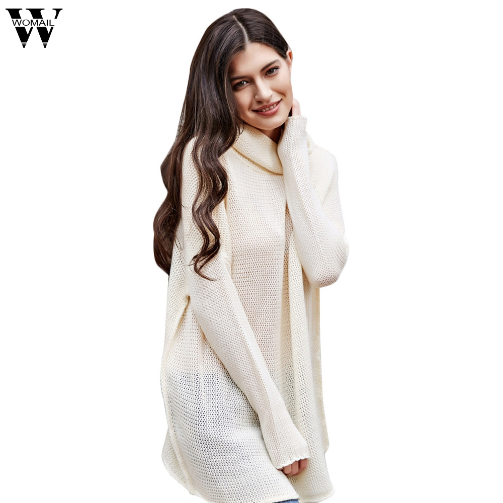 f21ce962283 WOMAIL Autumn and Winter Vintage Women Sweater Long Sleeve Loose Turtleneck  Knitted Pullover Army Green Sweaters Crop Top O17