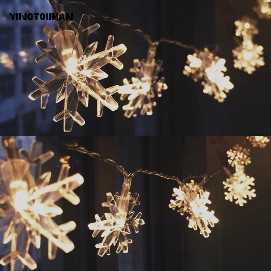 YINGTOUMAN LED Christmas String Lights Snowflake Type Lamp Garden Decorationsfor Home Outdoor Party Wedding 10m 100LED