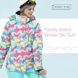 Image 4 - Trajes de esquí de las muchachas de la madre impermeables calientes chaquetas de esquí del snowboard de los niños a prueba de viento + pantalón de invierno adultos niños ropa de esquí traje
