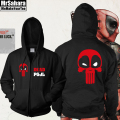 Marvel Comics Deadpool Full Zip Up Spring Hoodie Sweatshirt Size Adult free shipping 2017 man hoody