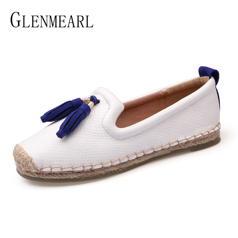 Brand Women Loafers Slip On Tassel Casual Flat Shoes Woman Summer Round Toe Fisherman Shoes New Arrival Espadrilles Plus Size DE spring summer flock women flats shoes female round toe casual shoes lady slip on loafers shoes plus size 40 41 42 43 gh8
