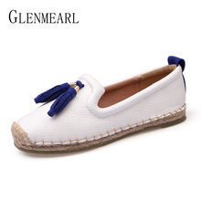 Brand Női Loafers Slip On Tassel Alkalmi sík cipő Női nyári kerek Toe Fisherman cipő Új érkezés Espadrilles Plus Size DE