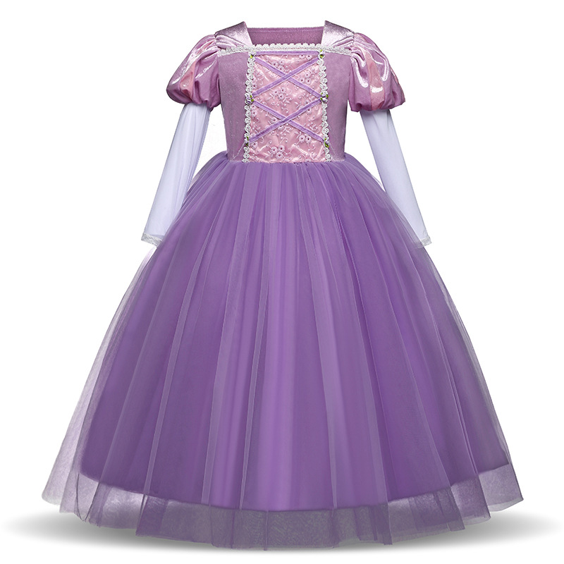 2018 Girls Kids Christmas dress costume Princess anna party dresses cosplay