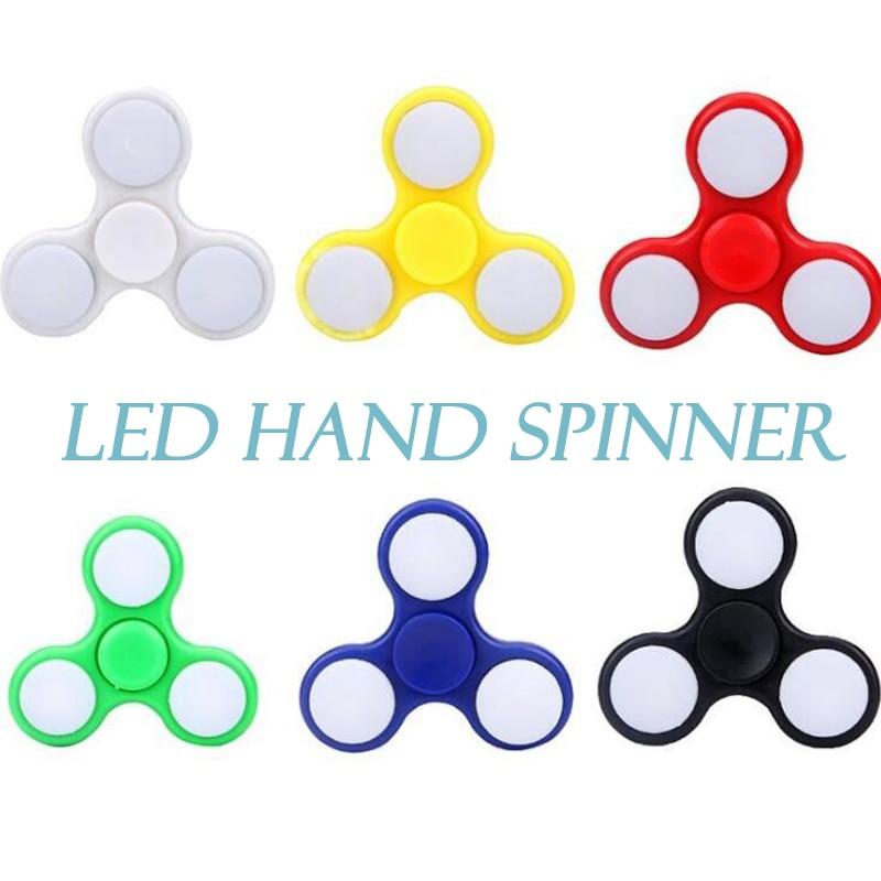 5 C LED Light Fidget Spinner Finger ABS EDC Hand Spinner Tri For Kids Autism ADHD