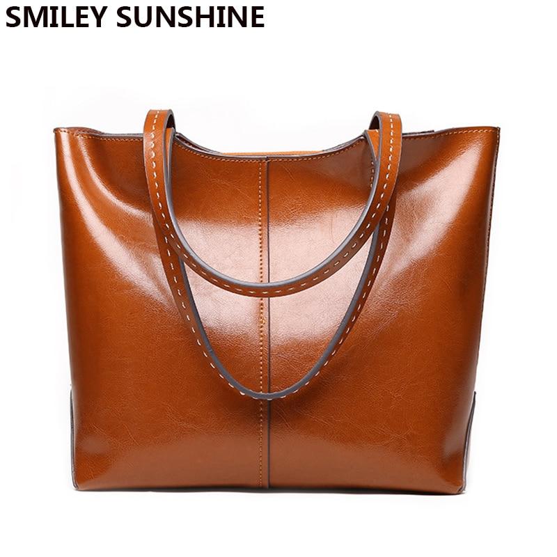 Genuine Leather ladies shoulder bags big women genuine leather handbags female totes hand bags designer luxury