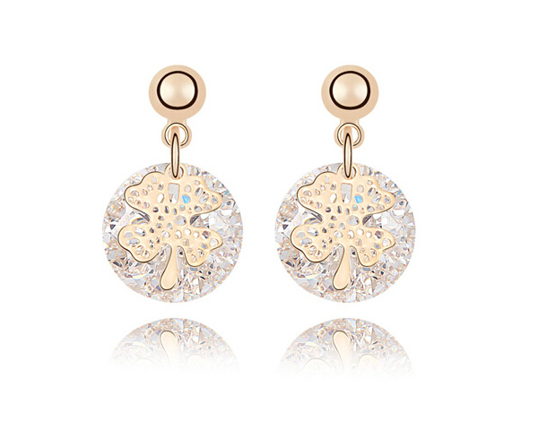 White Cubic Zirconia Four-Leaf Clover Stud Earrings Bulk Small Earrings For Girls & Ladies Fashion Jewelry Hot Sale Accessories