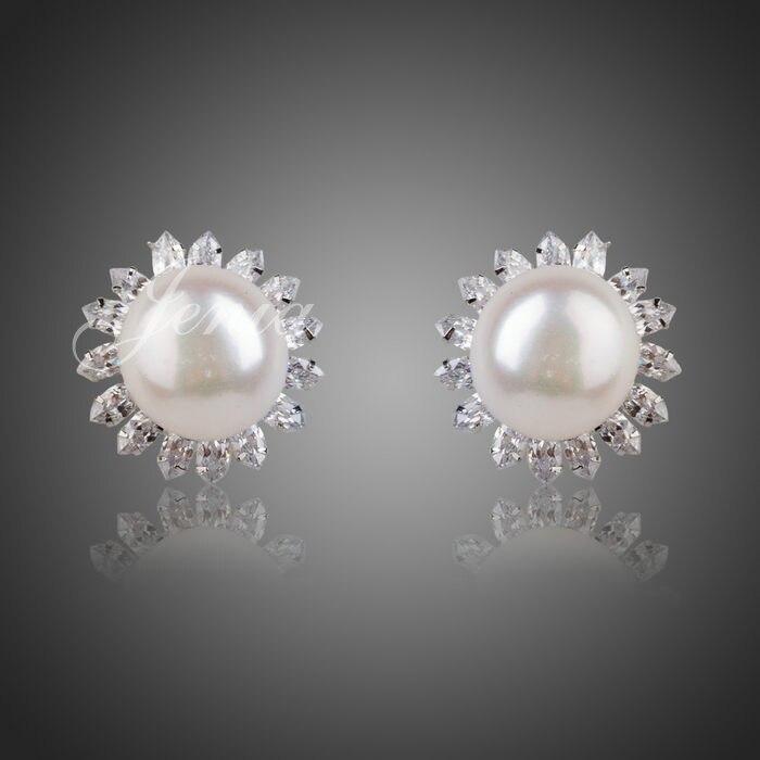 97ef237c35a2 Jenia moda oro blanco color simulado perla jewelrys disfraces Pendientes de  broche para las mujeres (xe019)
