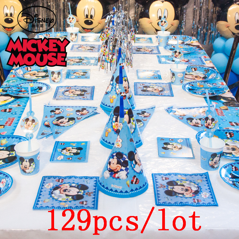 129Pcs Mickey Mouse Theme Paper Disney Cup Plate Napkin Cap Banner Straw Kid Birthday Party Gift Bag Blowout Decoration Supply