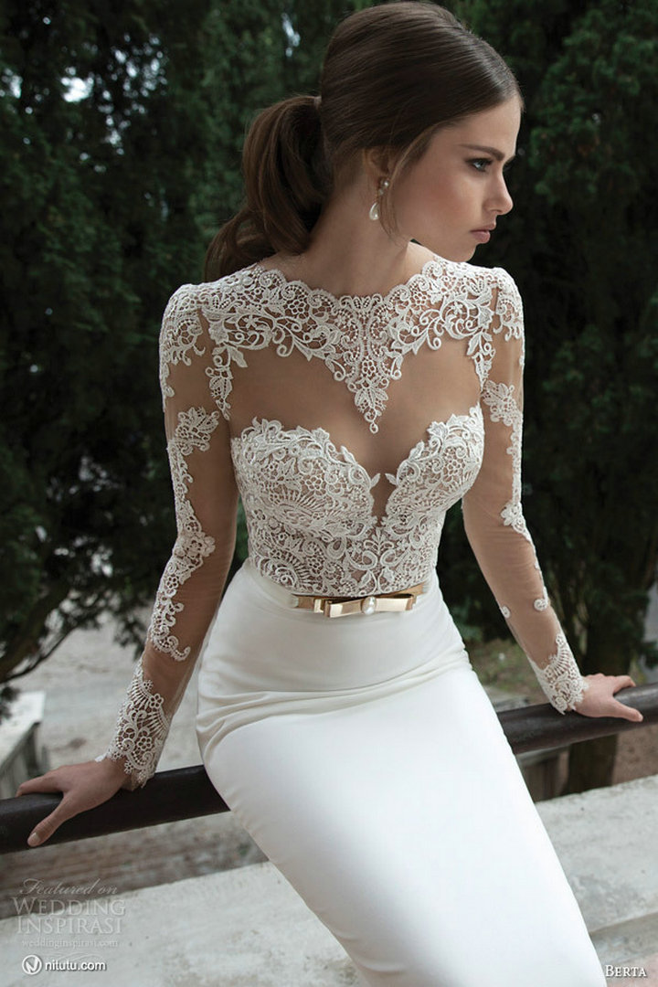 2017 New Arrive Y Model Jewel Long Sleeve Backless See Through Lace Corset Wedding Dresses In From Weddings Events On Aliexpress