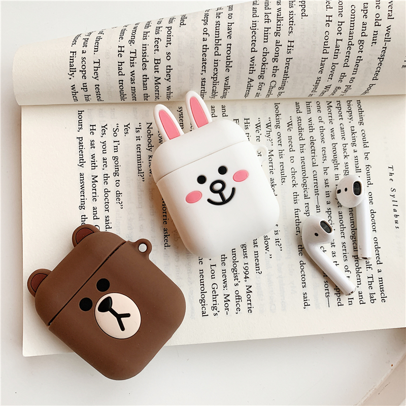 Silicone Case for Airpods Accessories for i10 TWS Bluetooth Earphone Protective Cover Bag Anti-lost Strap Cute Cartoon bear DIY15