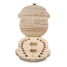 Tooth Box organizer  Milk teeth Save Wood storage box for kids Boy&Girl in English M30